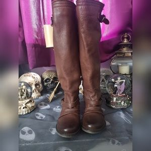 Genuine leather brown knee high Steve Madden boots